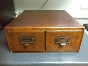 Antique Oak Library Index Card Catalog 2 Drawer File Box Table Top Cabinet Vtg
