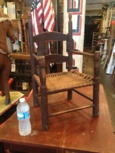 Antique Early Child S 2 Slat Ladderback Armchair Chair Old Red Paint Ex Rocker