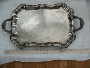 F B Rogers Large Silverplate Footed Serving Tray With Handles Ornate Heavy