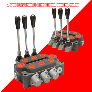 Hydraulic Control Valve 3 Spool Tractor Loader 3000psi 25gpm 1 2 Npt Work Ports