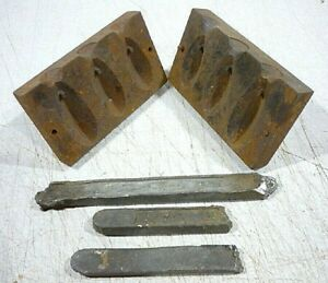 Antique heavy cast iron fish sinker mold with lead ingots. Pour your own sinkers