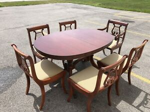 Solid Wood Dining Chairs Lyre Back Set Of 6 Hoover Chair Co Table