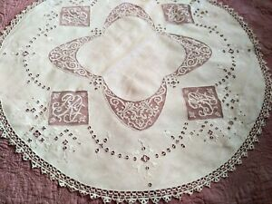 Fine Italian White Linen Filet Lace Initial Embroidered Table Round 31 As Is