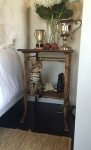 Antique English Burnt Bamboo Checkerboard Design Side Table W Lower Shelf