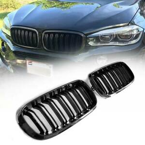 For Bmw F15 F16 X5 X6 2014 2018 Gloss Black Dual Slats Front Kidney Grill Grille