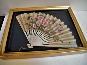 Antique Hand Fan In Gold Rectangle Shadow Box Framed Wall Art Picture Vintage