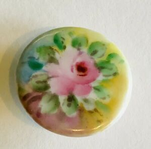 Antique Victorian Hand Painted Porcelain China Stud Button Floral