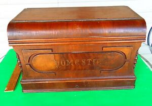 Antique Domestic Sewing Machine Treadle Cabinet Cover Wood Coffin