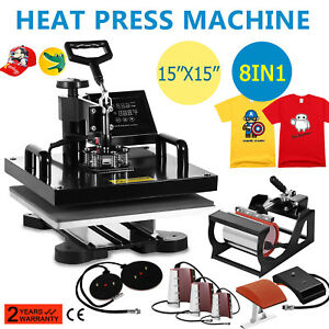 8 In 1 Heat Press Machine 15 x15 For T shirts Combo Kit Sublimation Swing Away