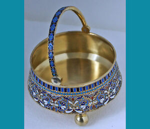 Antique Russian 84 Silver Gilt Enamel Sugar Bowl Gustav Klingert Moscow 1889year