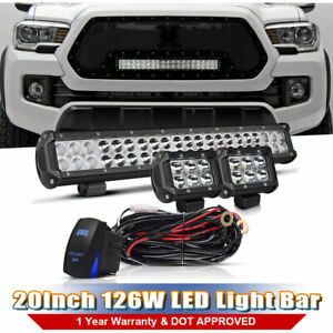 Dot 20inch 2x 4 Pods Offroad Led Light Bar Wiring Harness For Ford F150 Jeep Wm