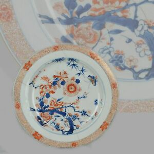 Antique Large 31 6cm Kangxi Imari Plate With Butterfly Chinese Porcelain
