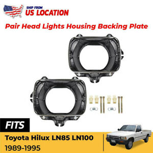 Head Lights Housing Bucket Plate Trim Made For 1989 1995 Toyota Hilux Mk3 Pickup