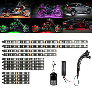 12pc Motorcycle Rgb Led Neon Under Glow Lights Strip 120 Led For Universal