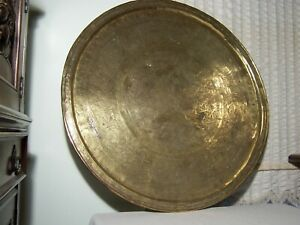 Large Engraved Persian Islamic Antique Brass Tray 36