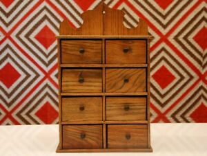 Large Antique Oak Spice Box Cabinet Wooden Primitive Chest 8 Drawers Apothecary