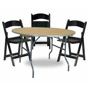 4 Black Resin Chair 36 Round Folding Table School Office Party Furniture Set
