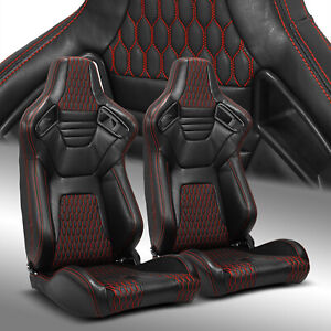 2 X Reclinable Black Red Stitching Pvc Leather Left Right Racing Bucket Seats