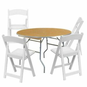 4 White Resin Chair 36 Round Folding Table School Office Party Furniture Set
