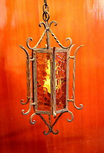 Spanish Revival Gothic 6 Panel Amber Glass Wrought Iron Lamp Vintage