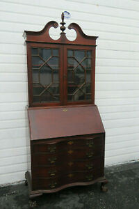 Mahogany Serpentine Front Two Part Tall Large Secretary Desk Cabinet 9868