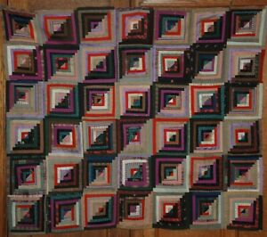 19th Century Log Cabin Quilt Top Foundation Quilted With Fab Fabric Backing