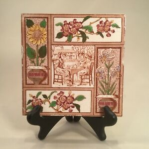 Charming Aesthetic Movement 1882 Girls Tea Party Tile
