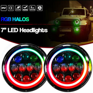 2pcs 7inch 75w Hi lo Beam Rgb Halo Led Headlights Fit Jeep Wrangler Jk 2007 2017