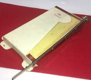 Vtg Guillotine Paper Cutter Small Office Desk Crafts Red White Metal Ising