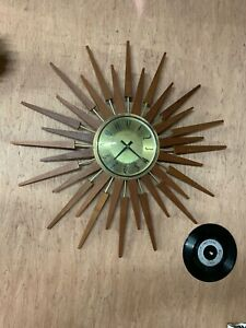Original Retro Anstey Wilson Large Starburst Sunburst Wall Clock Mid Century