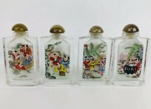 Set Of 4 Vintage Reverse Painted Asian Chinese Snuff Bottle Children Playing