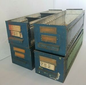Metal Drawers Vintage Industrial Office Storage Bins Label Holders