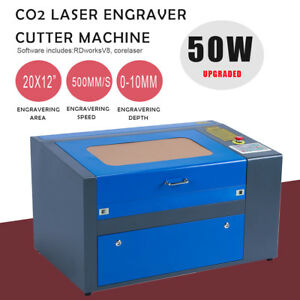 Upgraded 50w Co2 Laser Engraving Machine Engraver Cutter Auxiliary Rotary 20 12