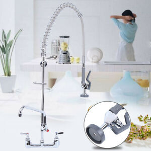 Commercial Wall Mount 12 Kitchen Restaurant Pre rinse Faucet Swivel Add on Tap