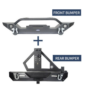Front Rear Bumper W Tire Carrier Receiver Hitch Fit 1997 2006 Jeep Wrangler Tj