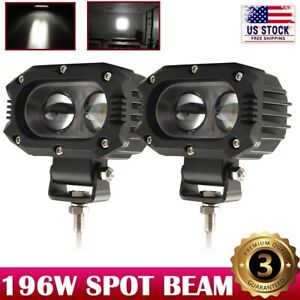 2pcs 4inch 196w Led Work Light Pod Spot Beam Off Road Auxiliary Driving Lights