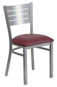 Slat Back Restaurant Chair With Burgundy Vinyl Seat id 3424897