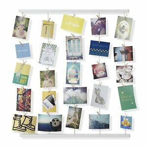 Picture Hanger Display Wire Wooden Clips Collapsible Photos Artwork Craft Set