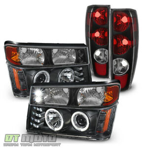 Black 2004 2012 Chevy Colorado Gmc Canyon Headlights Bumper Lights Tail Lamps