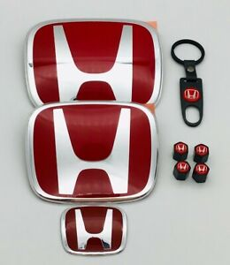 Racing Set Red H Emblem Front Rear Steering Fit 2016 19 Honda Civic Hatchback