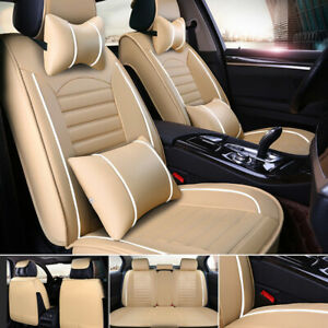 Pu Leather Car Seat Cover Front rear 5 seats Auto Full Set W neck Lumbar Pillow