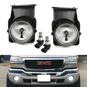 Oem Spec Clear Lens Fog Light Kit W White 15 Smd Led Bulbs For 03 06 Gmc Sierra