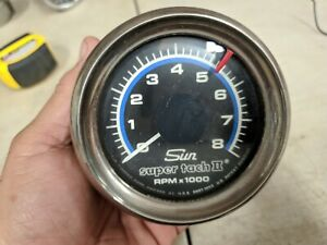 Sun Super Tach Ii Chrome Bezel Black Cup With Bracket No Nut