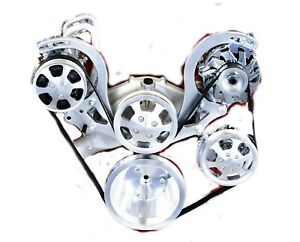 Bbc Polished Serpentine Pulley Kit Complete With Chrome A c Alternator P s