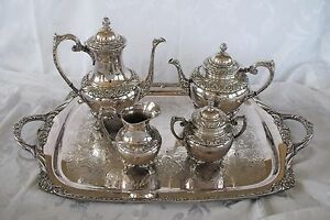 Rogers Bros Coffee Tea Set 1847 Silverplate Heritage Pot Teapot Tray 9401 9492