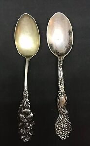 Lot Of 2 Antique Victorian Aesthetic Spoons Sterling Silver