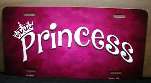 Princess Metal Novelty Car License Plate Tag Pink Girl
