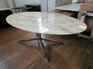 Florence Knoll 78in Calacatta Marble Oval Dining Conference Table Eames Saarinen