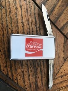 Vintage Stainless Coca Cola Money Clip with File& Knife