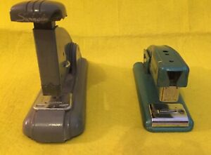 Two Vintage Working Swingline Industrial Desktop Metal Speed And 99 Staplers
